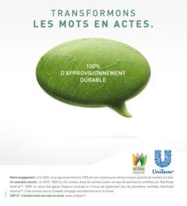 UNILEVER - COP 21 - Campagne trnasformons les mots en actes